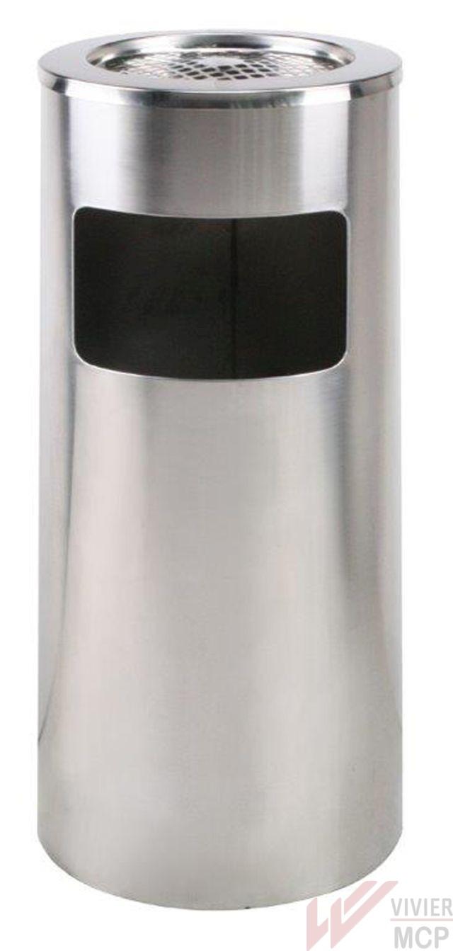 Poubelle avec cendrier incorporé en inox couleur noire