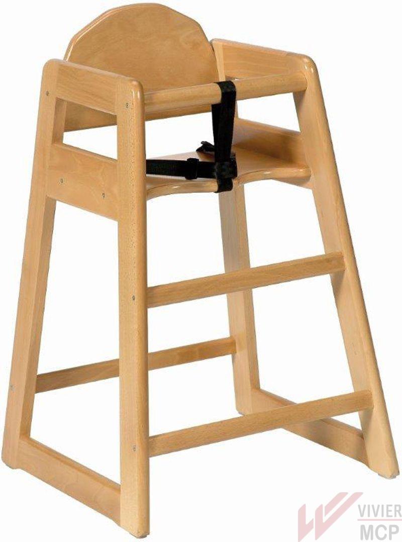 Chaise haute enfant sans plateau en bois foncé