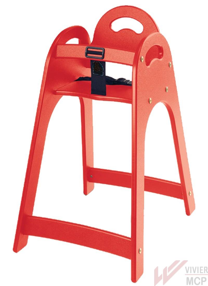 Chaise haute bébé en plastique rouge professionnel