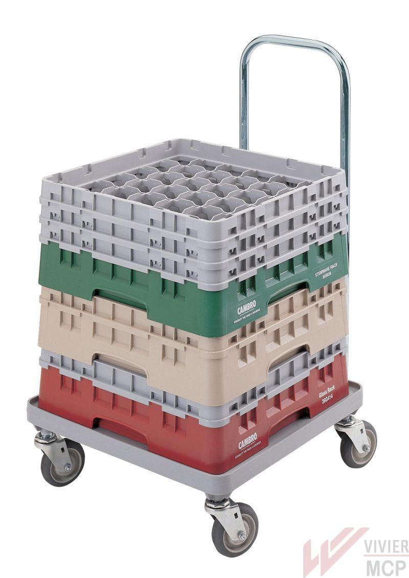 Chariot de transport pour casiers à verres avec manche