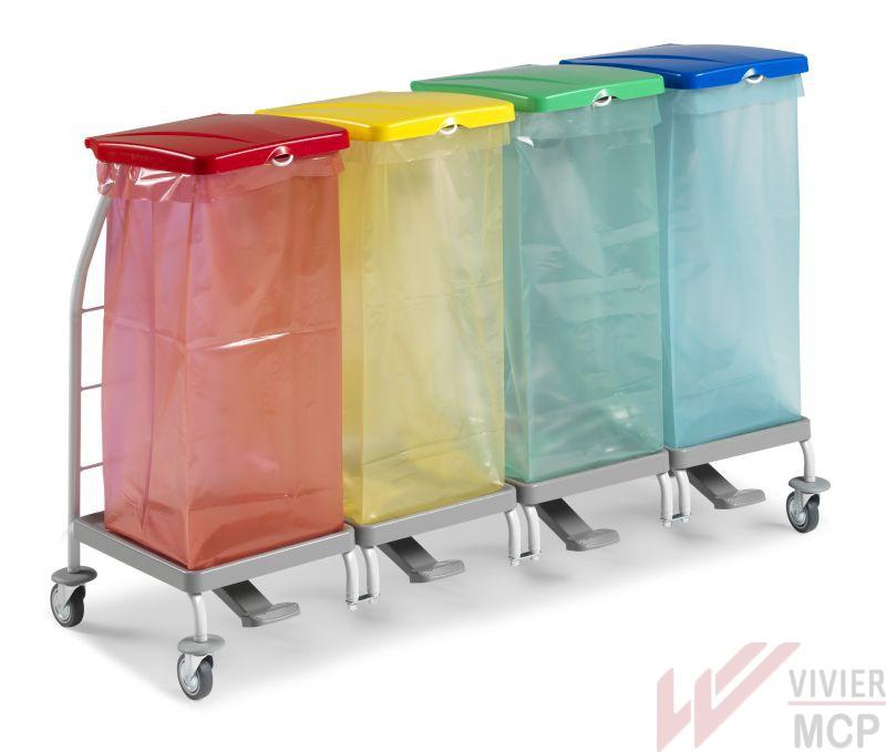 Chariot 1 bacs pour déchets alimentaires