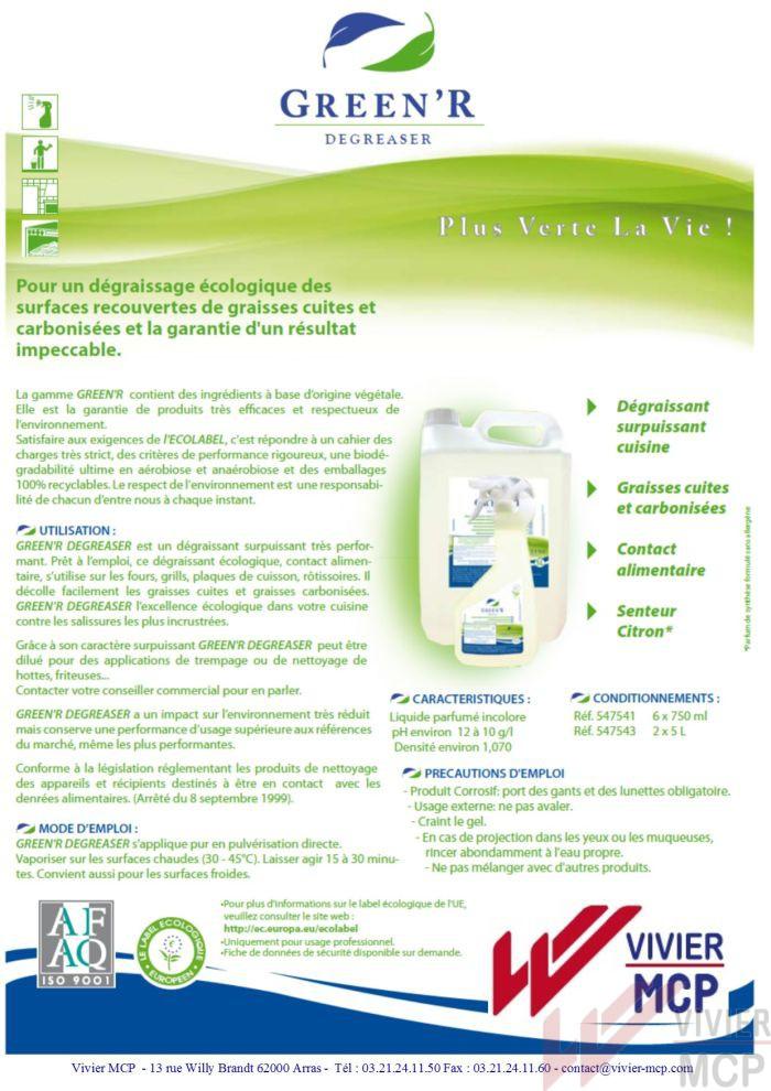 Dégraissant écolabel pour graisses carbonisées green'r degreaser