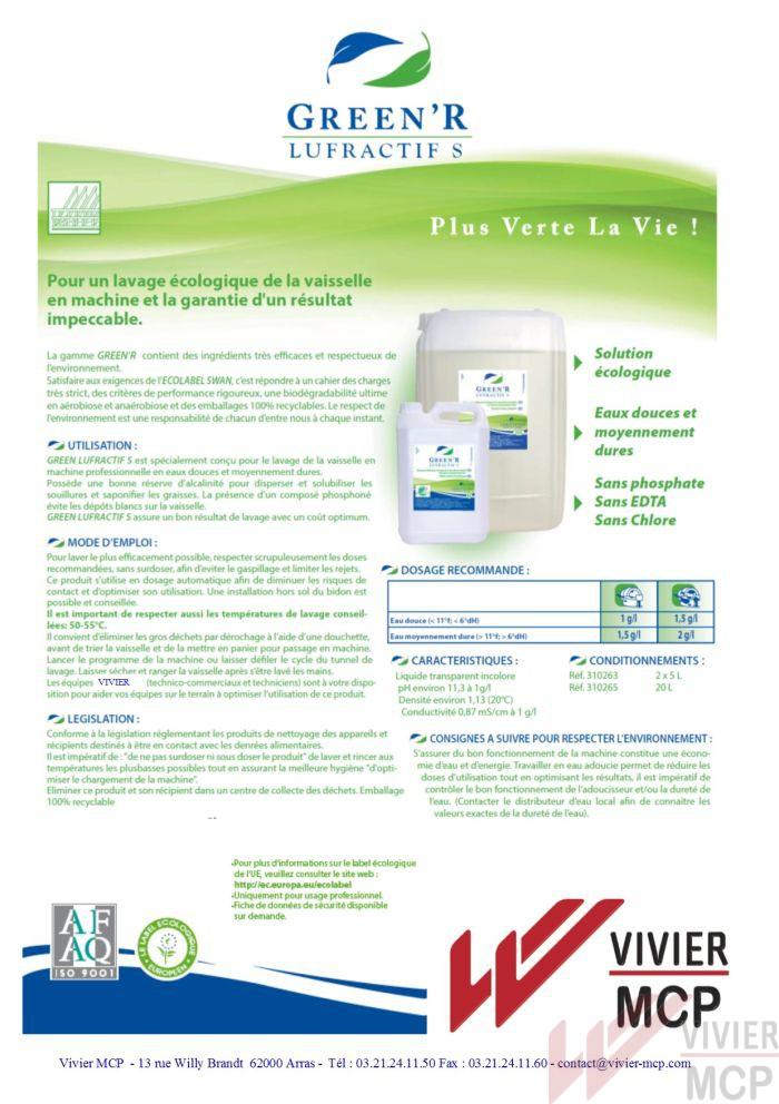 Détergent lave vaisselle écolabel Vivier MCP