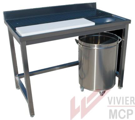 Table de préparation en inox pour viande et poisson