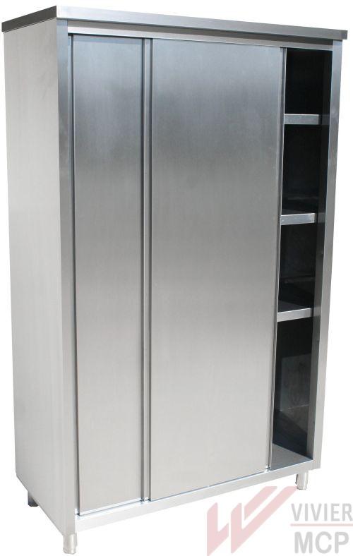 Armoire haute en inox avec portes coulissantes