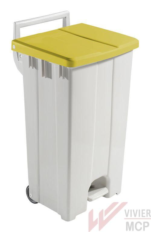 Conteneur écologique 90l avec couvercle à pédale jaune