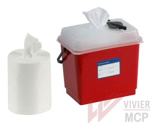 Distributeur rouge de lingettes, carrés d'essuyage à usage unique