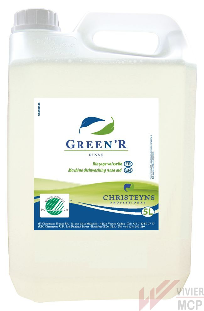 Liquide de rinçage écolabel Green'r rinse - Vivier MCP