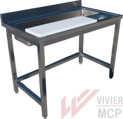 Table de préparation en inox pour légumes avec bac de lavage