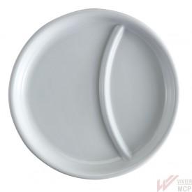 Assiette de 23 cm à 2 compartiments pour plateau de distribution de repas