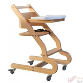 Chaise haute pour enfant avec 4 roues inox