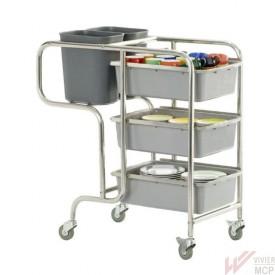 chariot de service de débarrassage tables robuste