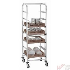 Chariot pour casiers de lavage verres, assiettes, vrac
