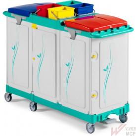 Chariot de stockage et collecte caréné avec tiroir central