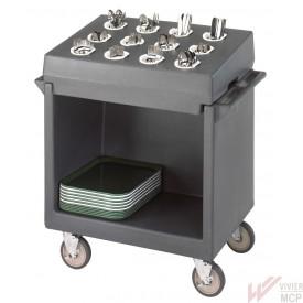 Chariot de service à plateaux et vaisselle