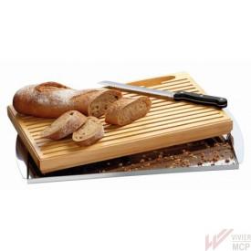 Planche à pain avec ramasse miettes inox et couteau inox élégant