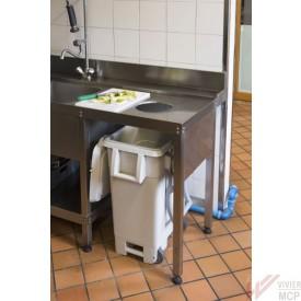 Poubelle pour table de cuisine professionnelle trouée