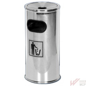 Cendrier démontable sur poubelle inox