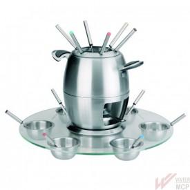 Service à fondue sur socle en verre
