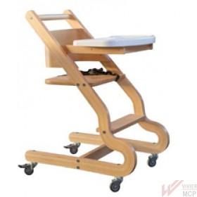 Chaise haute pour enfant en bois de hêtre avec 4 roulettes