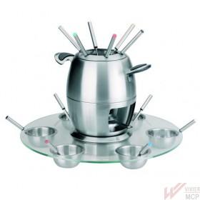 Service à fondue inox complet avec socle en verre