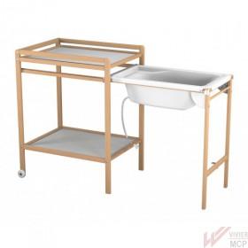 Table à langer avec baignoire coulissante